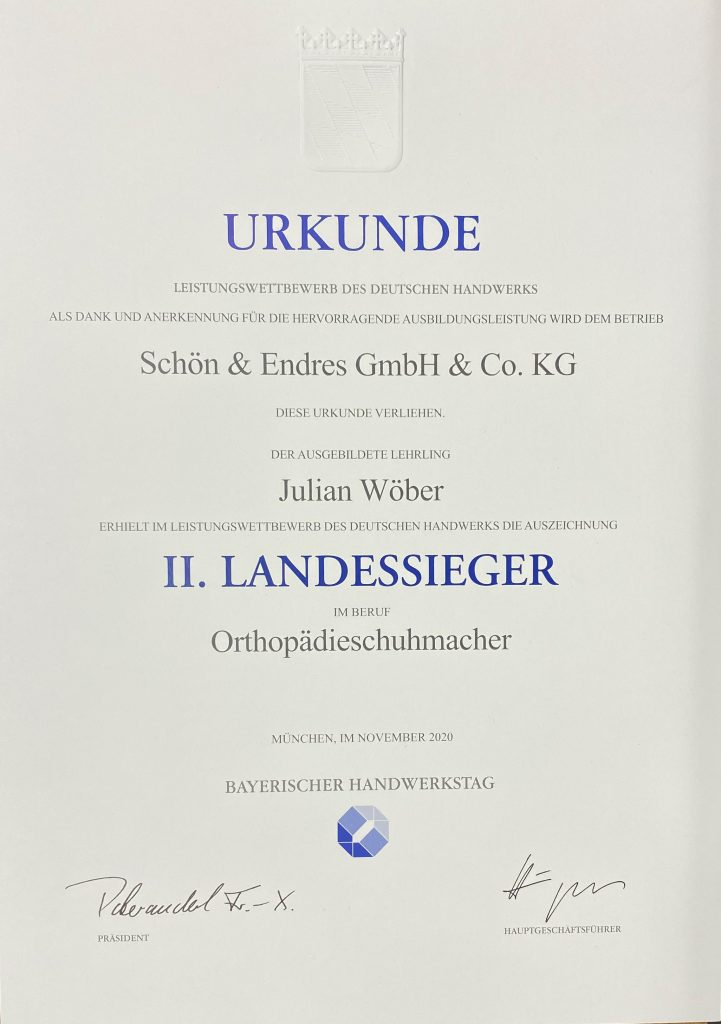 Schön & Endres - Landessieger Julian Wöber - Orthopädieschuhmacher